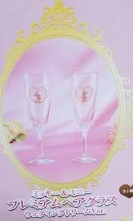 Disney 迪士尼 米奇米妮 玻璃 香檳酒杯 結婚杯 景品