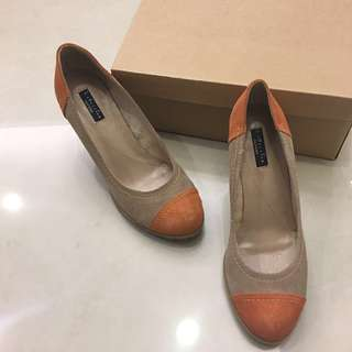 🚚 Daphne 達芙妮 楔形鞋 麂皮 高根 高跟鞋 厚底鞋 拼接 橘色 土色 咖啡色 粗跟 細跟