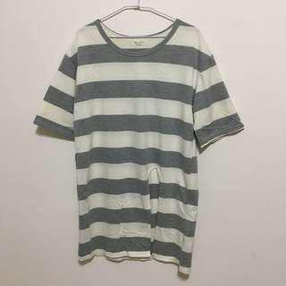🚚 灰白條紋開衩長版上衣T恤