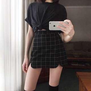 🚚 格子開叉彈性裙