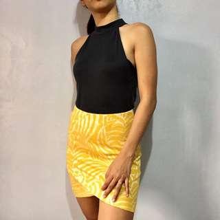 H&M tweed yellow bandage skirt