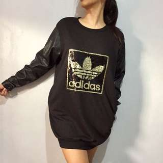 Adidas inspired jersey dress with leather sleeves