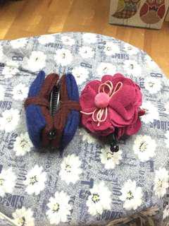 韓國-絨布蝴蝶結相交夾 花朵相交夾 香蕉夾