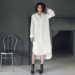 0725韓版長版前短後長寬鬆長袖白襯衫