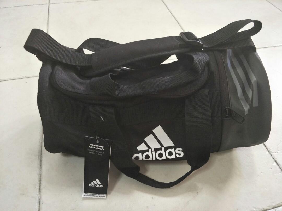 930f5b1f2dc Adidas Convertible 3-Stripes Duffel Bag XS, Sports, Sports Apparel on  Carousell