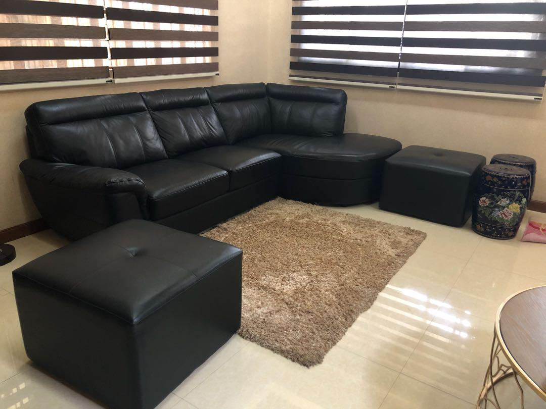 Black German Leather Sofa Set On Carou