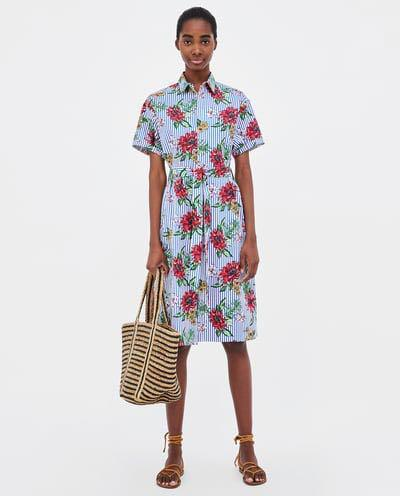 116dddc0d9 BNWT Zara Striped and Floral Print Dress Shirt Dress, Women's ...