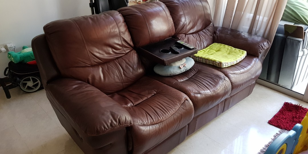 Brown Leather Recliner Sofa Used For 3 Yrs Furniture Sofas On