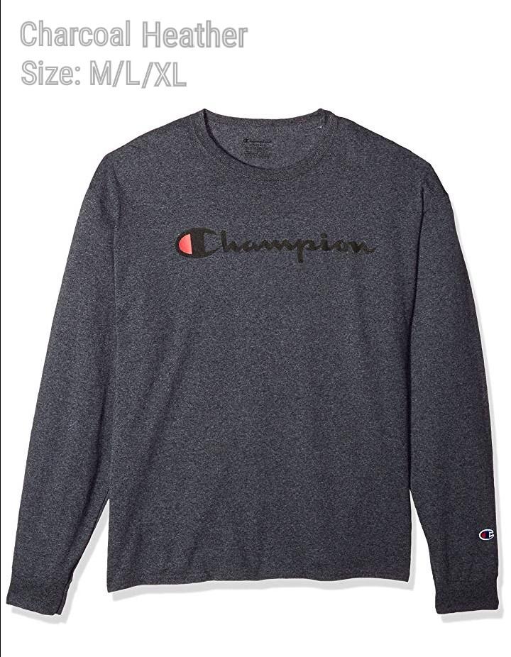 b92b3459 Champion Men's Classic Jersey Long Sleeve Script T-Shirt, Men's ...
