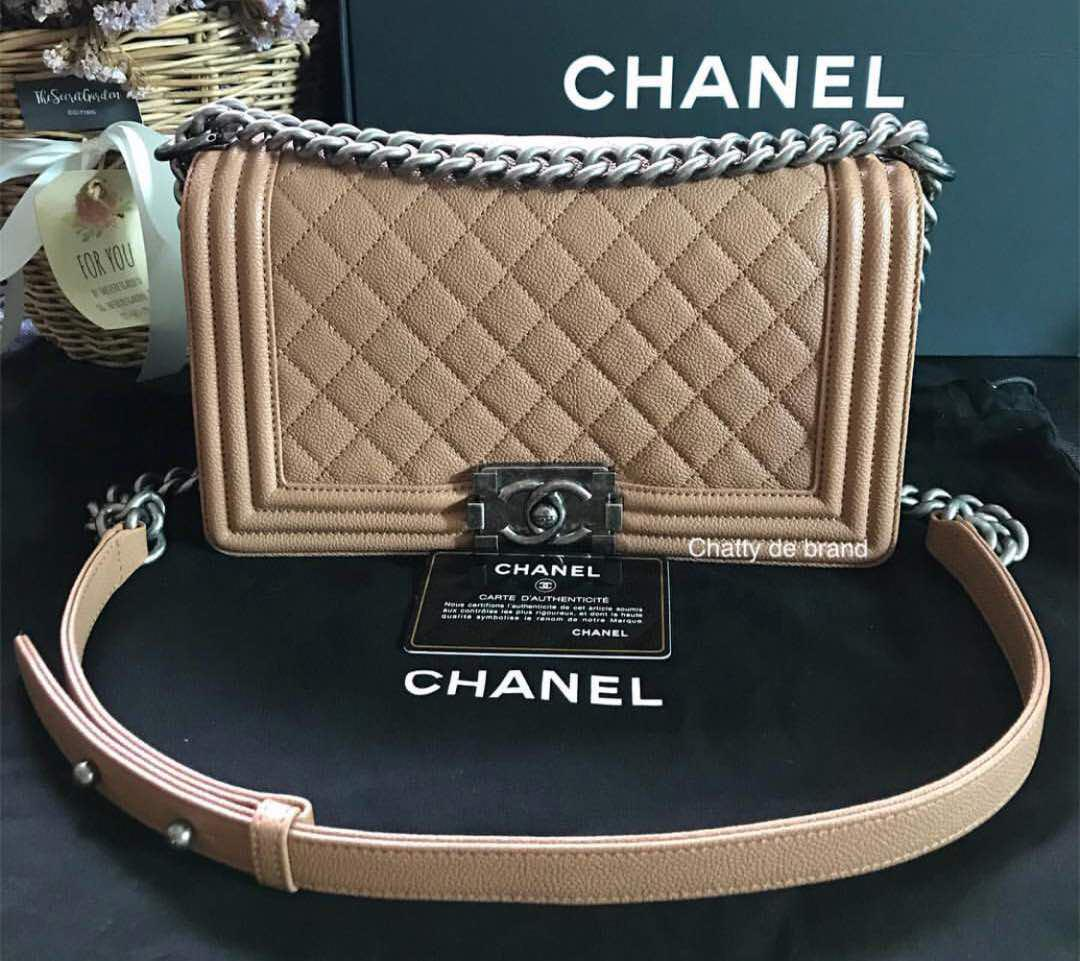 Chanel Boy Beige Caviar with RHW.