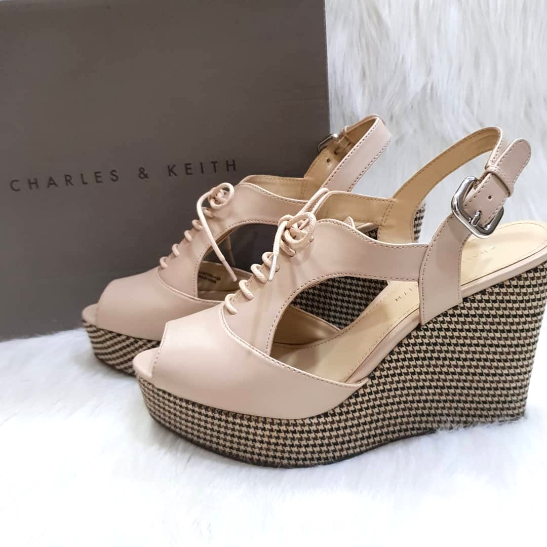 50a88b5467 Charles & Keith Peep Toe Wedge Sandals, Women's Fashion, Shoes, Flats &  Sandals on Carousell