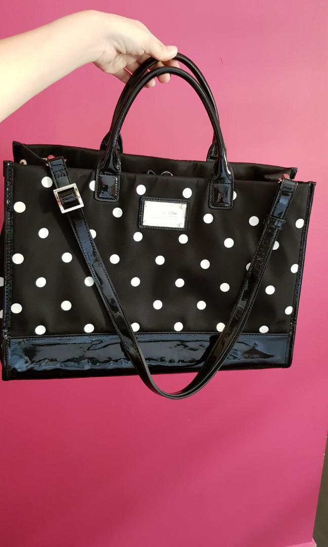 4e7bd34a6467 Che Che New York polka dot black bag