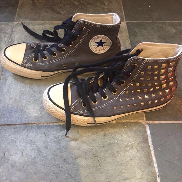 meet 0d2d8 d8772 Converse Chuck Taylor All Star High Collar Stud Sneakers in Black ...