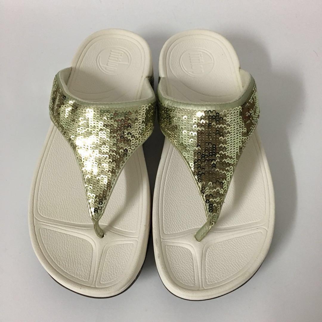 2da51ffe3d96c2 FitFlop Electra Gold Sequin Toe-Post Sandals