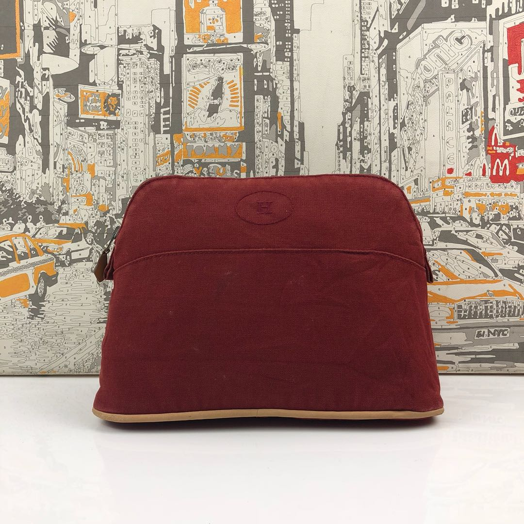 f6822174843a HERMES RED BOLIDE CANVAS POUCH BAG