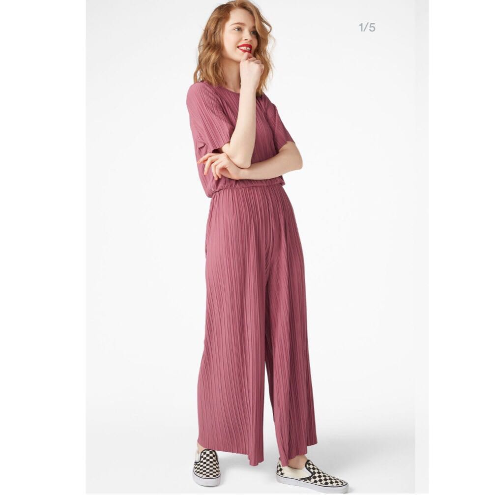 2027aa1675d Monki Pleated Jumpsuit Pink, Women's Fashion, Clothes, Rompers & Jumpsuits  on Carousell