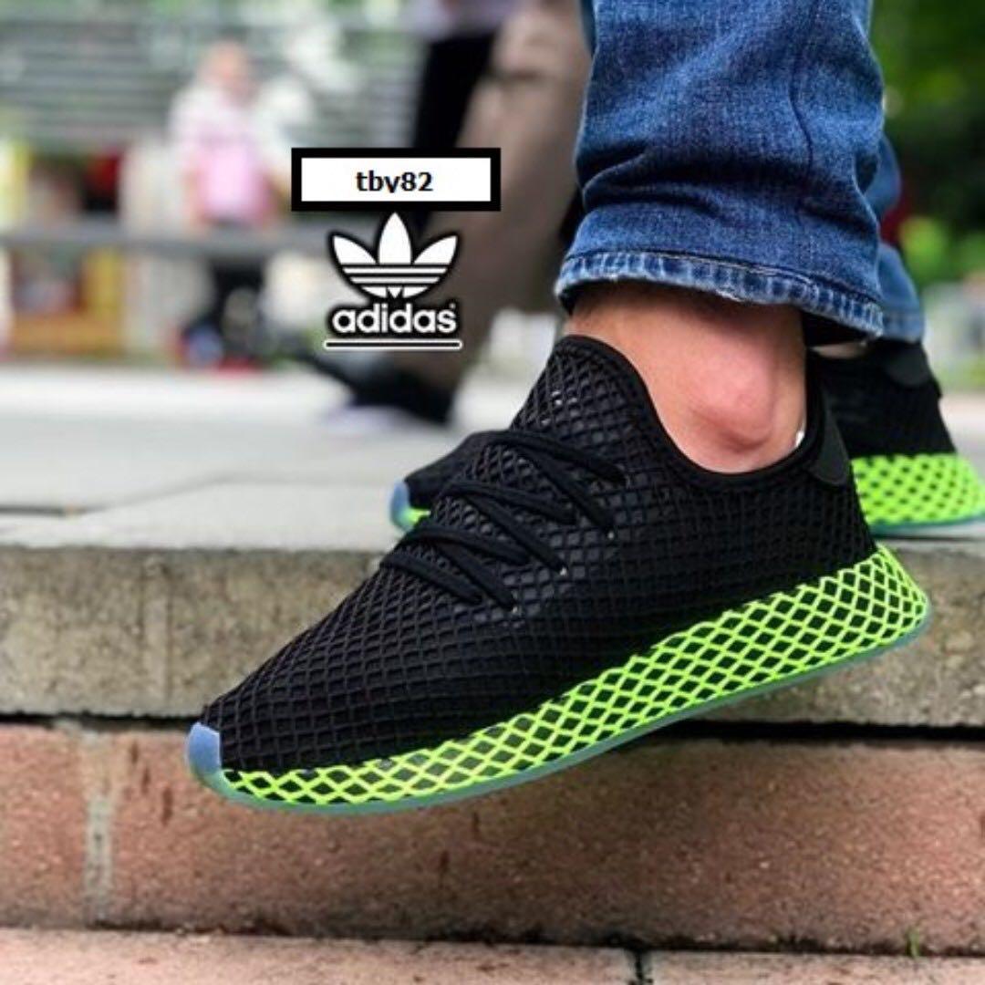 PO) Adidas Deerupt Black Neon Green