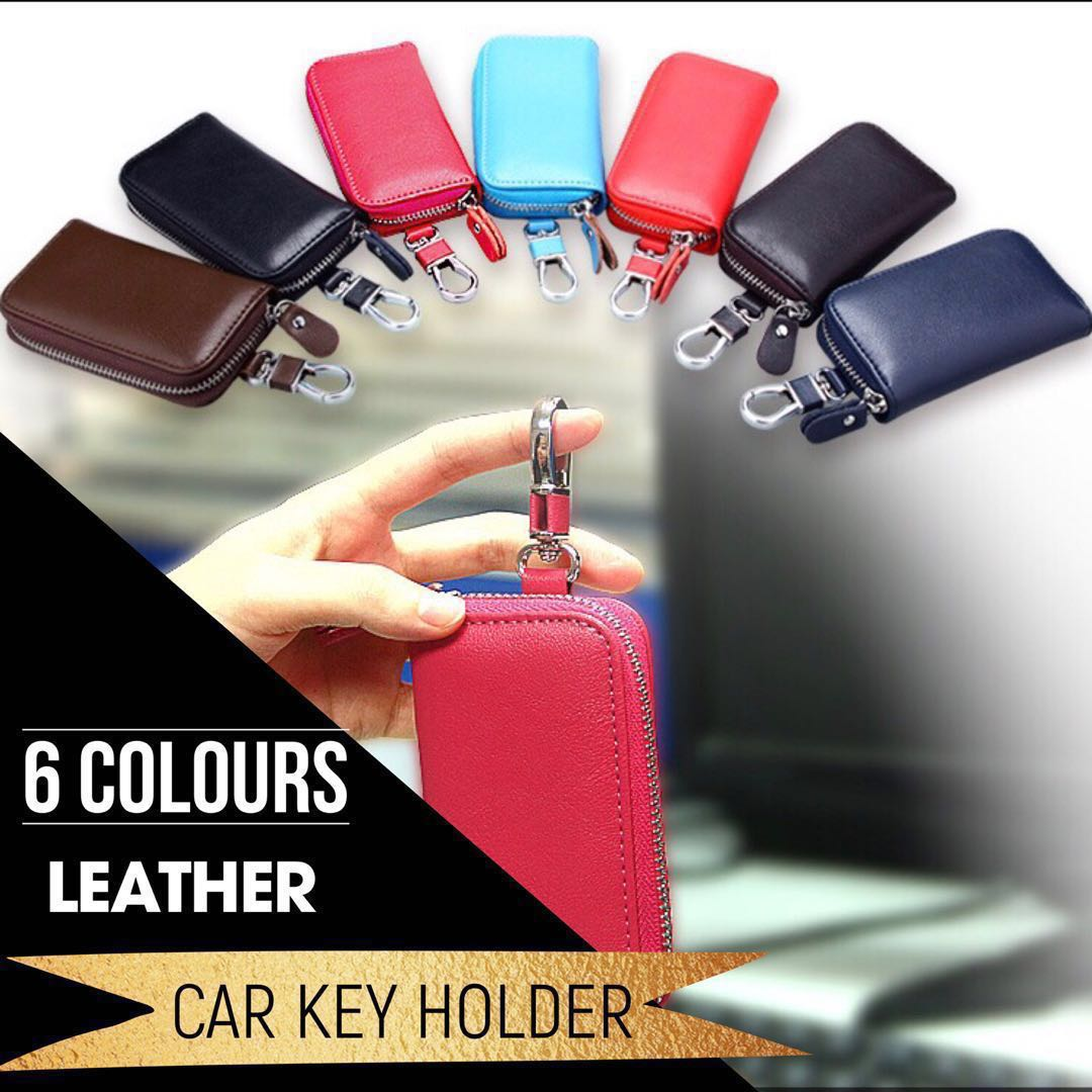 fca15d7fc4a3 Unisex Leather Car Key Pouch Keychain Holder Wallet