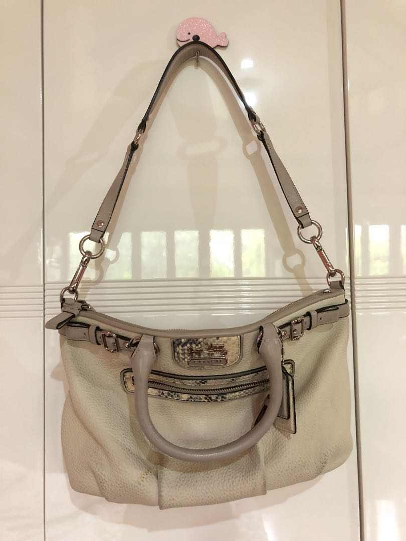 1494342aeb ... release date used authentic original coach off white leather shoulder  hand bag womens fashion bags wallets