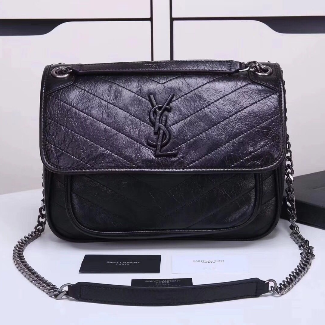 Ysl Saint Laurent Medium Niki Chain Bag In Crinkled And
