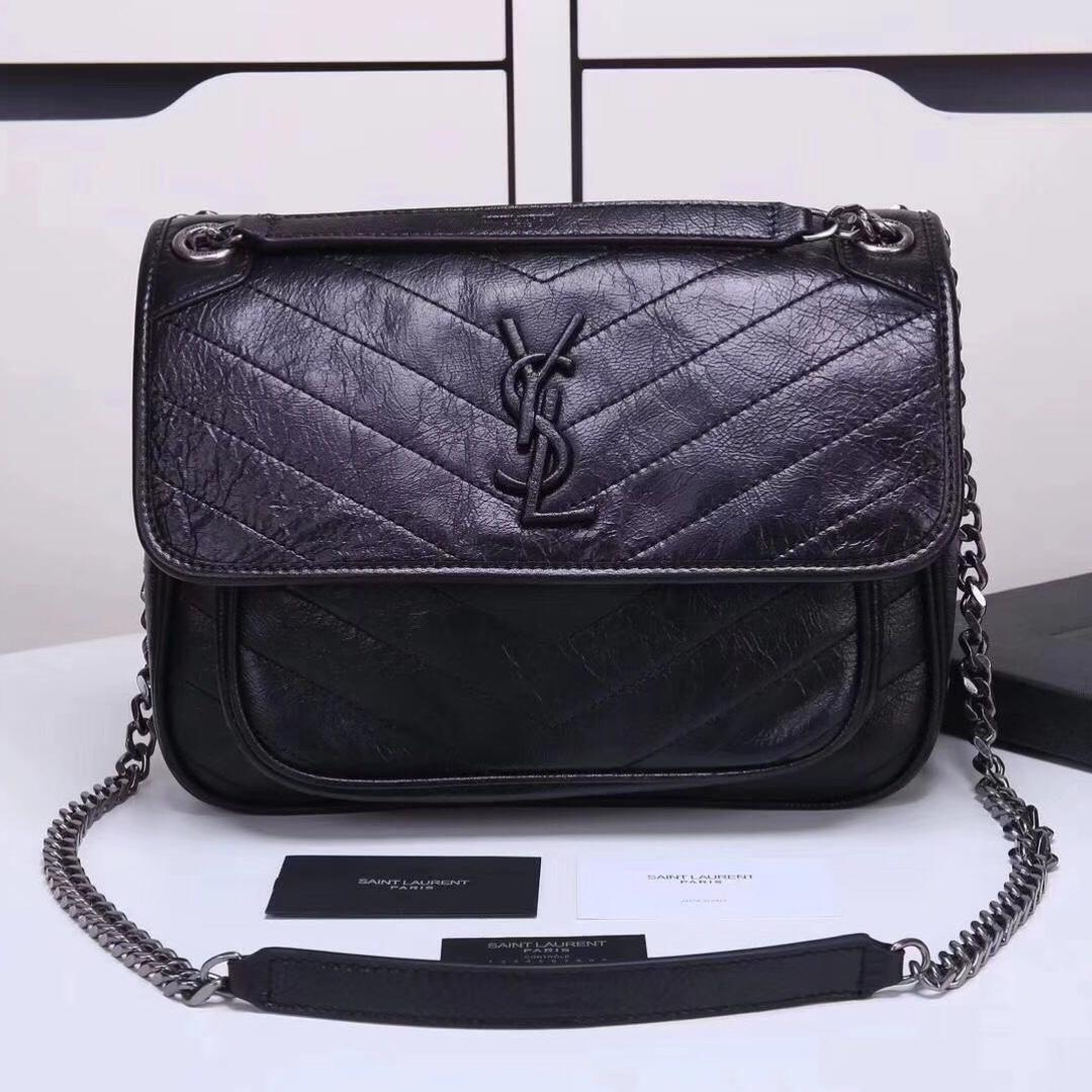 d584d71bd4 YSL Saint Laurent Medium Niki Chain Bag In Crinkled and Quilted Fog ...