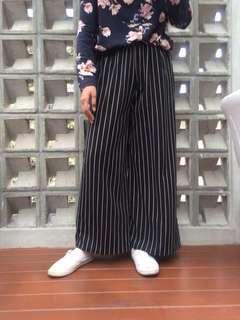 (NEW) Celana Kulot Belang - Belang Hitam Putih Stripes Cullotes Black and White