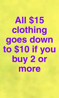 $15 clothing down to $10!!