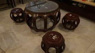 Old Chinese Rosewood Tea Round table set Mandarin Ducks in Lotus pond with Mother of Pearl
