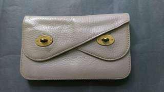 英國名牌Mulberry灰色皮經典樹葉logo特別雙扣款銀包
