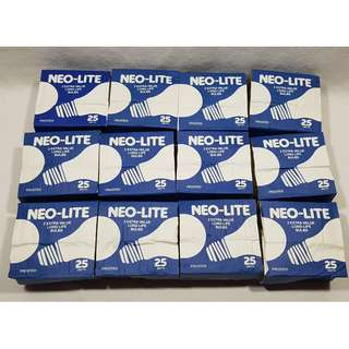 24 NEO-LITE LIGHT BULBS 25W EXTRA VALUE WHITE FROSTED MED. BASE