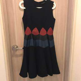🚚 WOOL DRESS with Leather Accents UK10