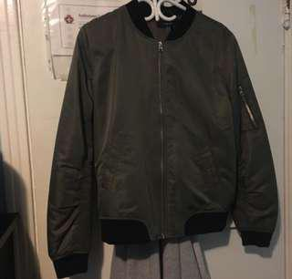 Dark green/ gray bomber jacket from forever 21