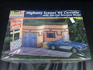 1/25 Highway Scenes 1960 Corvette With Die-cut  Diorama Motel