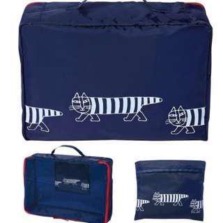 🚚 FUN日雜~ 條紋貓 可折疊 旅行收納袋 多功能收納包 折疊包