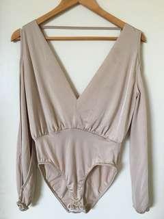 Blush Missguided Open Back & Shoulder Bodysuit