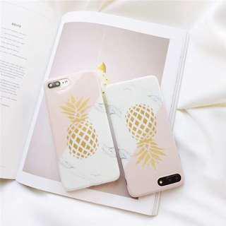 雙色大理石拼接鳳梨手機殼iPhone x
