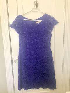 LOFT Purple lace cocktail dress - worn once size 10