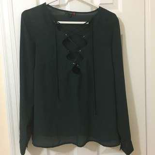 G by Guess army green lace up top
