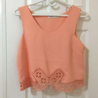 Reitmans orange lace crop top size l