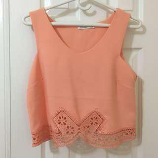 Reitmans orange lace crop top size l