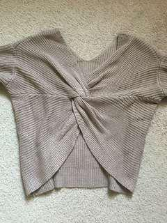 Tan Sweater (Knotted Back)