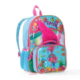 💯Original TROLLS Backpack + Lunchbag Set