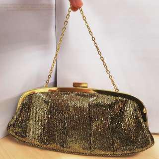 Gold Short Sling Clutch Bag