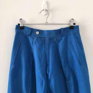 Blue silk vintage trousers