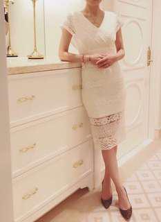 🚚 韓版白蕾絲氣質洋裝