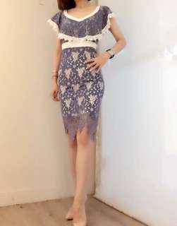 🚚 韓版白藍蕾絲氣質洋裝