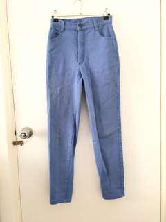 Cornflower blue vintage high waisted denim jeans