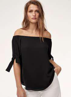 Malik Black Blouse with Tie Sleeves XS