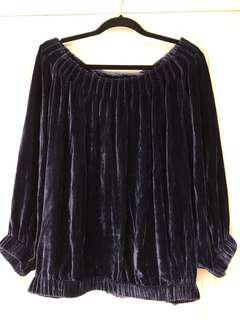 Off Shoulder Velvet Blouse