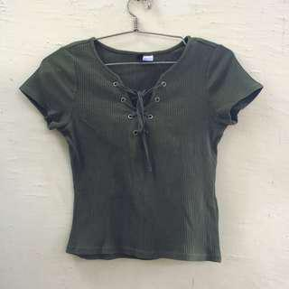 H&M Lace Up Top in Olive Green